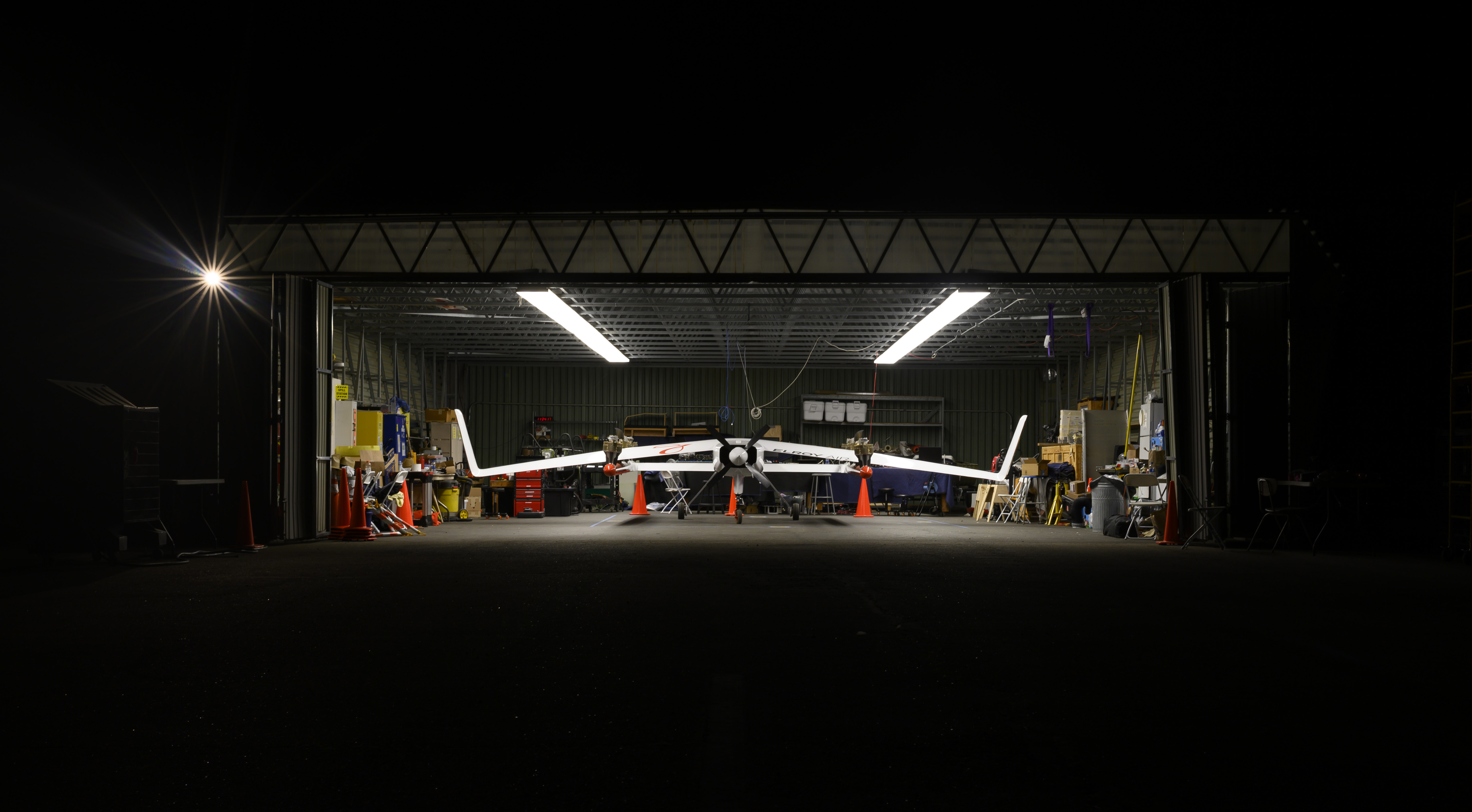 Photo of an Elroy vertical take off and landing aircraft in hangar.