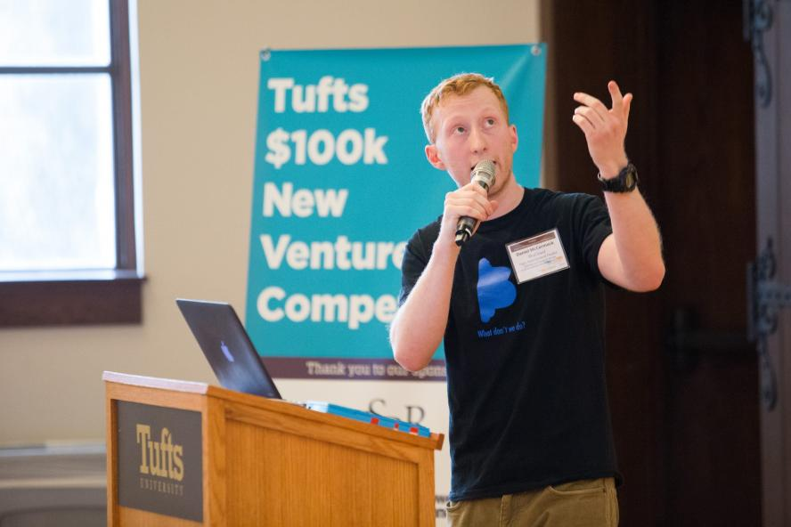 Daniel McCormack of BluCloud presenting at the Tufts 100k Competition