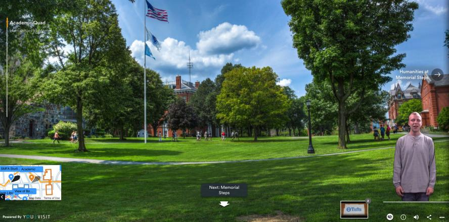 A still from the Tufts University virtual campus tour app