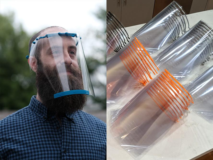 Two pictures side-by-side. On left, Jason Jammallo wears a face shield he 3D printed himself. On right, a stack of face shields he printed lay on a table.