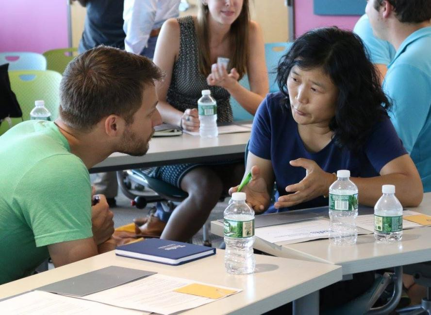 Tufts students engage in conversation
