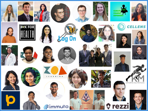 Collage featuring headshots of participants in the Tufts Venture Accelerator and their startup logos