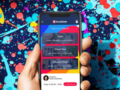 GradGab mobile application on smartphone.