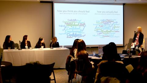 Women in STEM panel reviews 2 word clouds about self-advocacy
