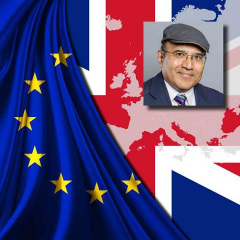 Partha Ghosh headshot over Brexit image