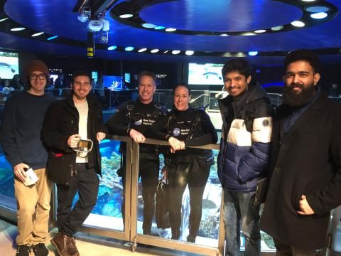 MSIM students with divers from the New England Aquarium