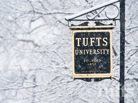 Tufts University sign in the snow